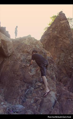Rock climbing in Digisit Beach