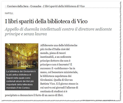 "NAPOLI - Girolamini Library's Disappearing Books, ""What's the Point of Michelangelo?"" - Two thousand intellectuals protest at director, a self-styled prince with no degree. Corriere Della Sera /English (April 17th, 2012). by Martin G. Conde"