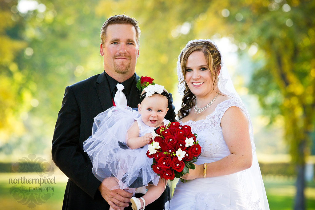 Newlywed Family - bride groom baby
