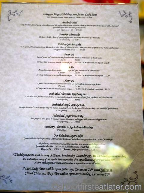 Sweet Lady Jane menu