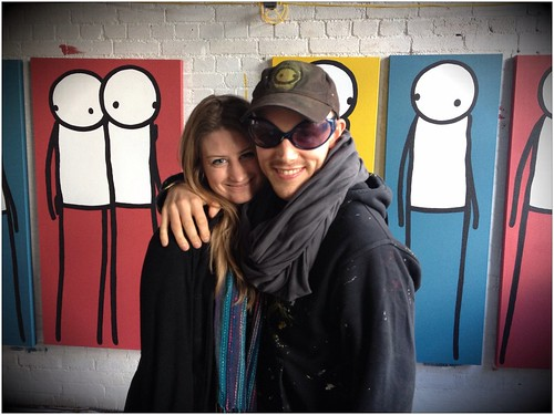 With Stik in his Pitfield Street studio this afternoon
