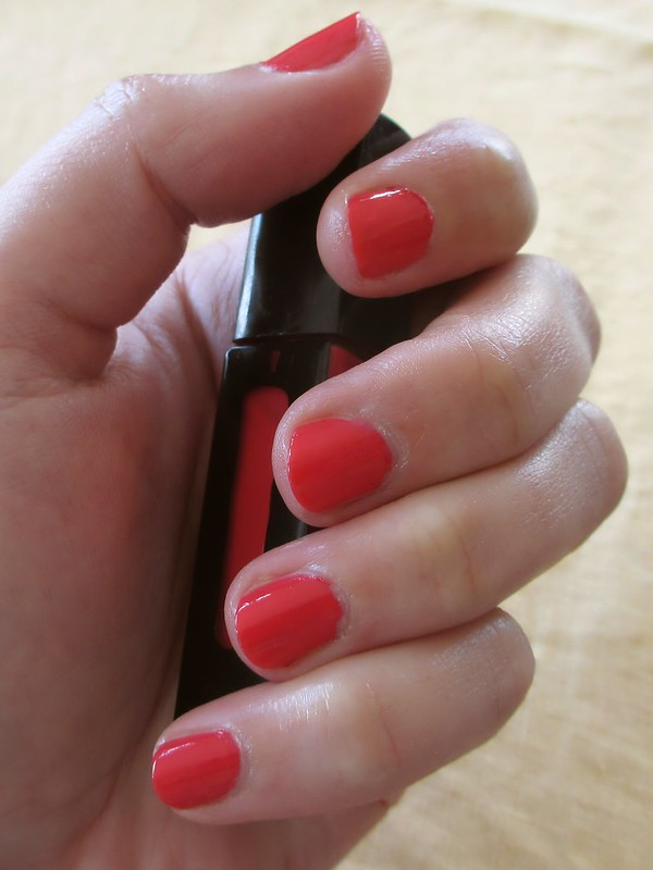 Mani with two coats of Julep Mandy polish, an intense coral crème.
