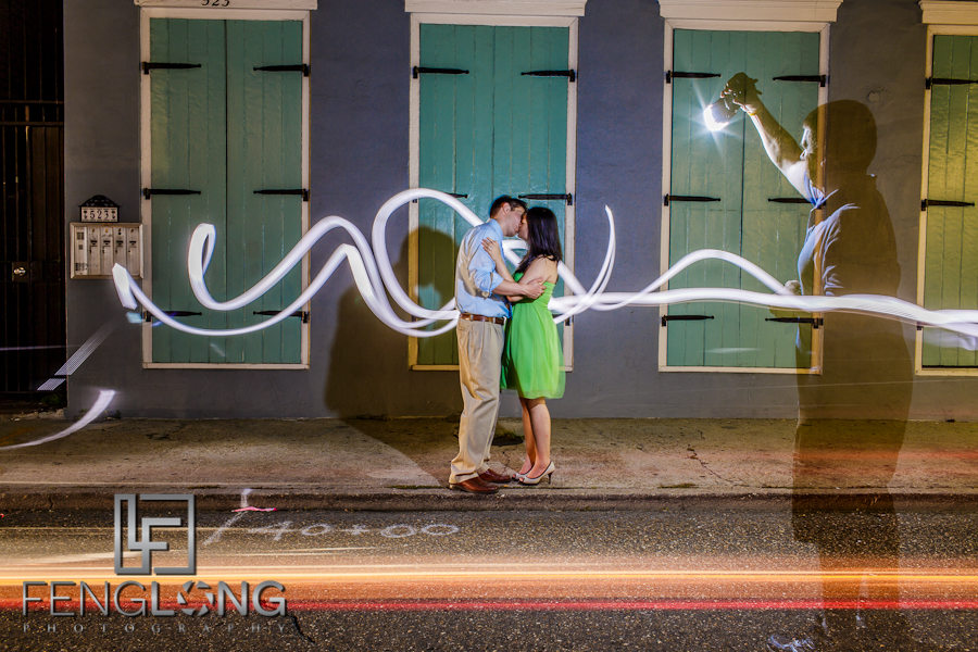 Behind the Scenes Engagement Light Painting | Amy & Michael's Engagement Session | French Quarter | New Orleans Destination Wedding Photographer