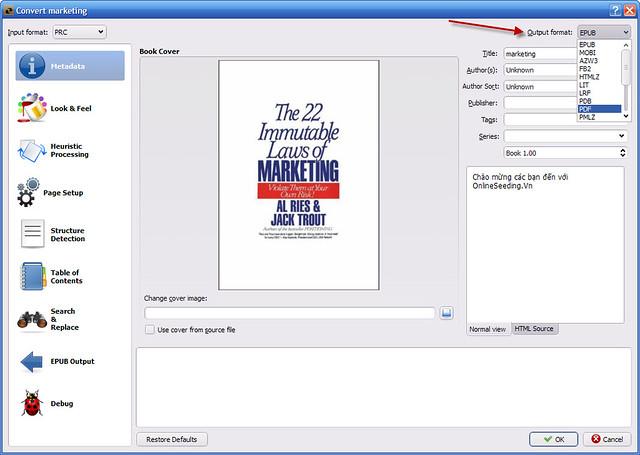 Convert PRC to PDF