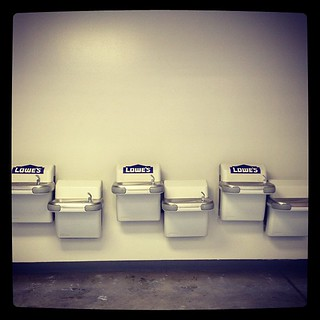 In case many ppl are simultaneously thirsty, a wall of drinking fountains.