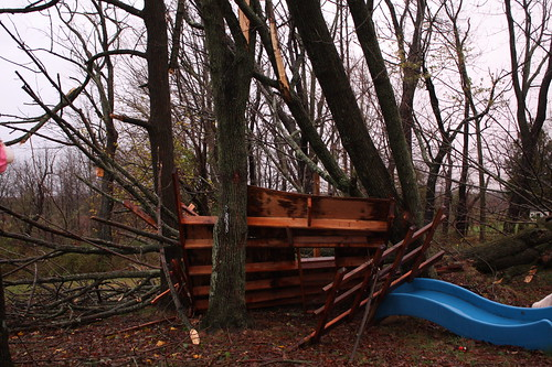 It made us all really sad that the treehouse was smashed. :(