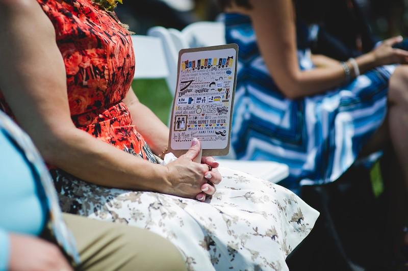 creative wedding program idea on offbeat bride
