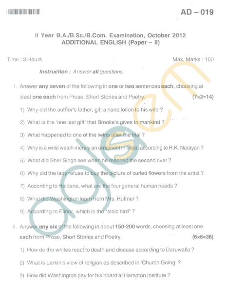Bangalore University Question Paper Oct 2012: II Year B.Com. - Addtional English