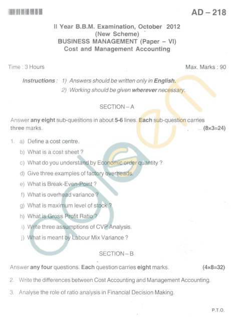 Bangalore University Question Paper Oct 2012 II Year BBM - BusinessManagement Paper VI Cost and Management Accounting