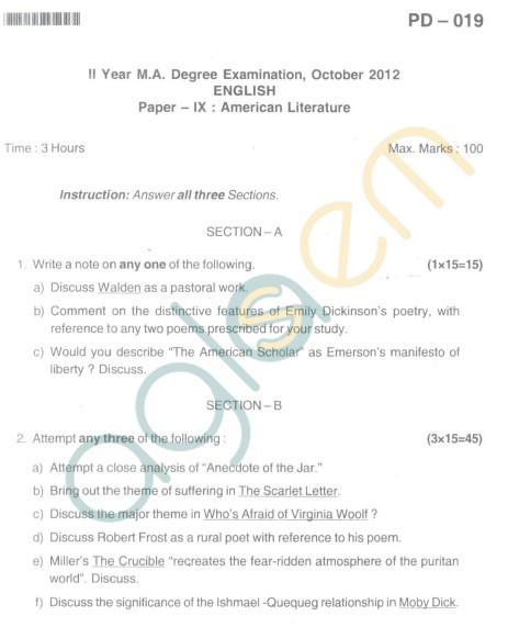 Bangalore University Question Paper Oct 2012:II Year M.A. - English Paper IX American Literature