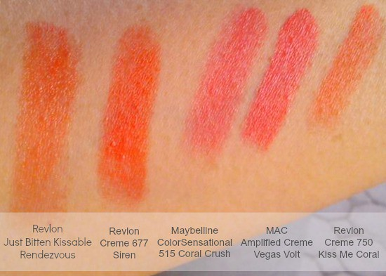 Orange and Coral Lipstick Swatches