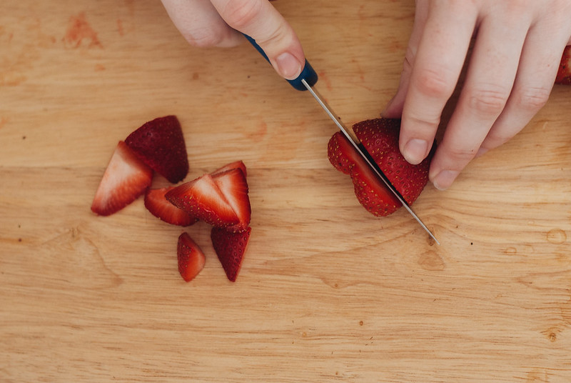 Slice strawberries