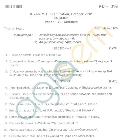 Bangalore University Question Paper Oct 2012:II Year M.A. - English Paper VI Critism
