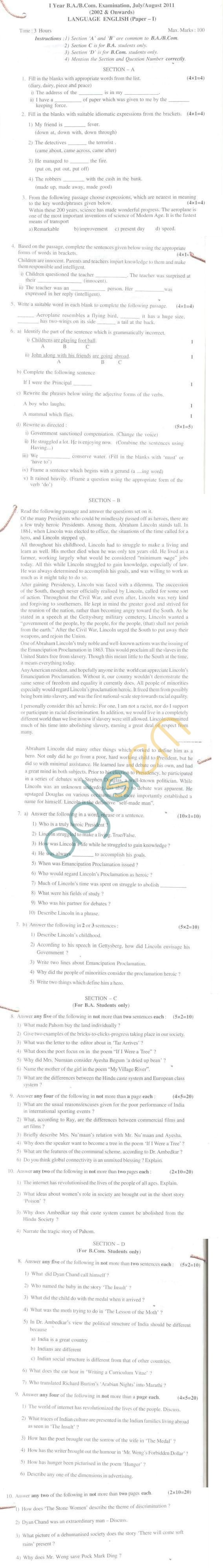 Bangalore University Question Paper July/August 2011 I Year B.A./B.Com. Examination - English