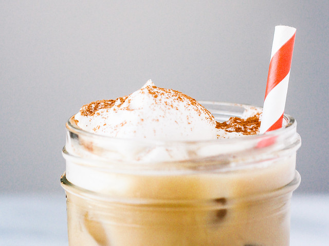 Iced coffee with coconut whipped cream