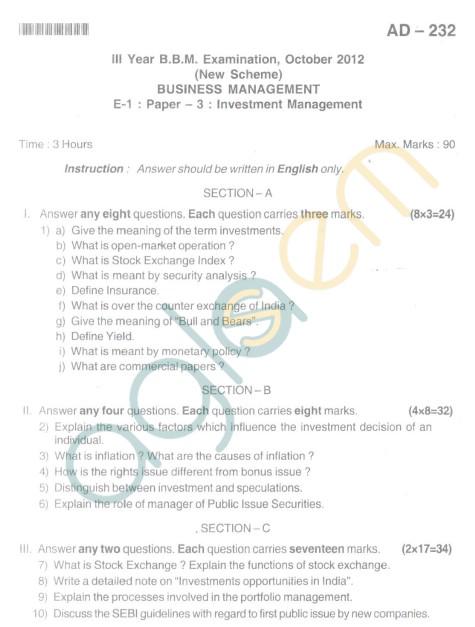 Bangalore University Question Paper Oct 2012III Year BBM - Business Management Invest Management