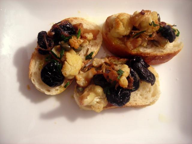 Baby cauliflower and olive bruschetta