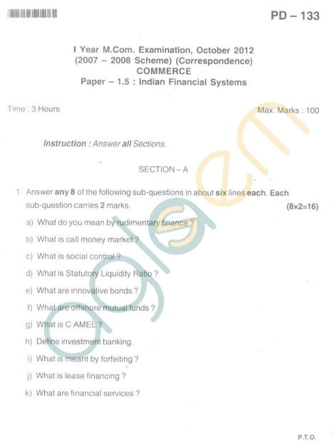 Bangalore University Question Paper Oct 2012 I Year M.Com. - Commerce Paper - 1.5 : Indian Financial Systems