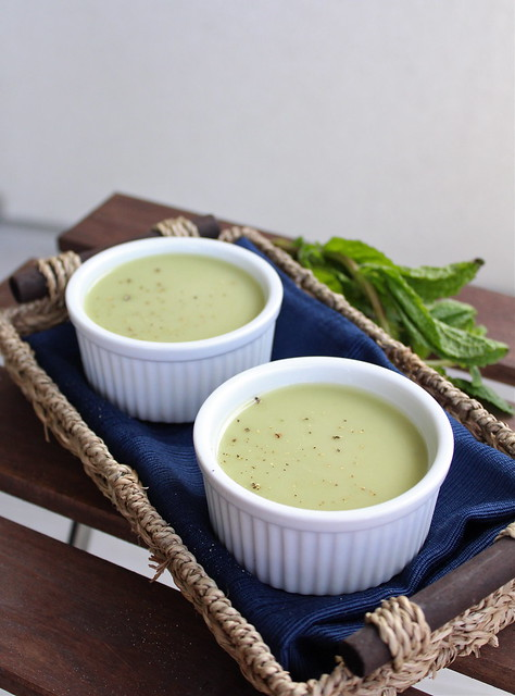 Chilled spring pea and mint soup