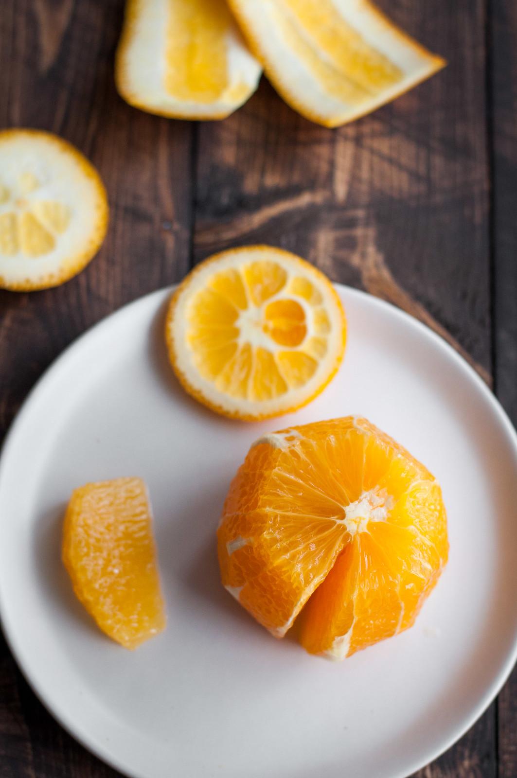 Orange segmenting for arugula salad and toasted sesame vinaigrette