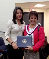 """Rep. Tulsi Gabbard with Dr. Mary Frances Oneha, a recipient of a White House AAPI """"Champions of Change"""" award for her work in Native Hawaiian health care. She is the CEO of the Waimanalo Health Center."""