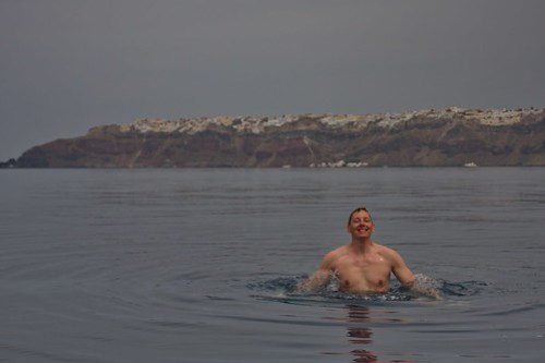 Ingo Swimming in the Caldera of Santorin