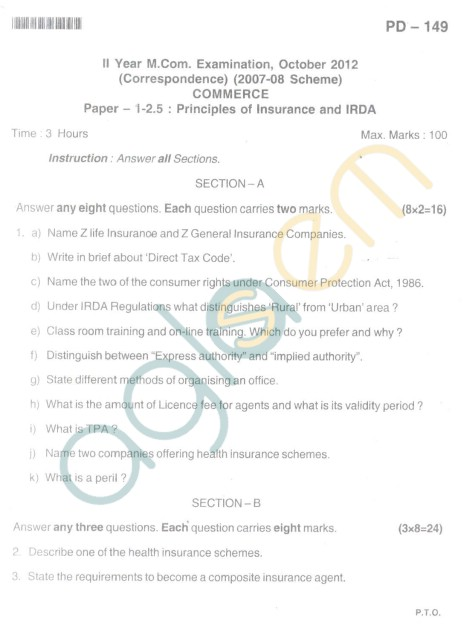 Bangalore University Question Paper Oct 2012II Year M.Com. - Commerce paper - I -2.5 Principles of Insurance And Irda
