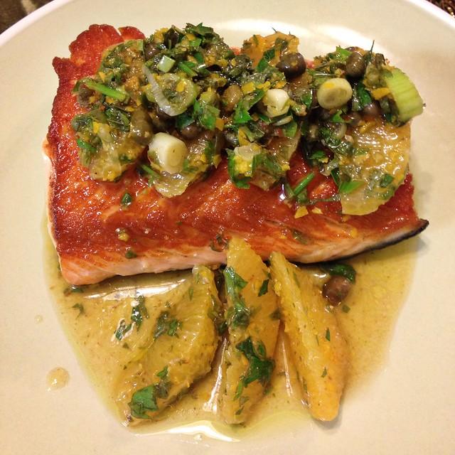 Salmon w/ Citrus Salsa Verde