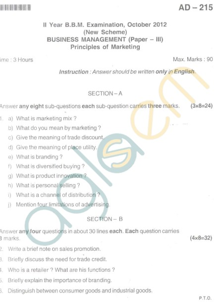 Bangalore University Question Paper Oct 2012II Year BBM - Business Management Paper III Principles of Marketing