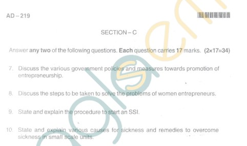 Bangalore University Question Paper Oct 2012II Year BBM - Business Management Paper VII Entrepreneurship and Small Industry