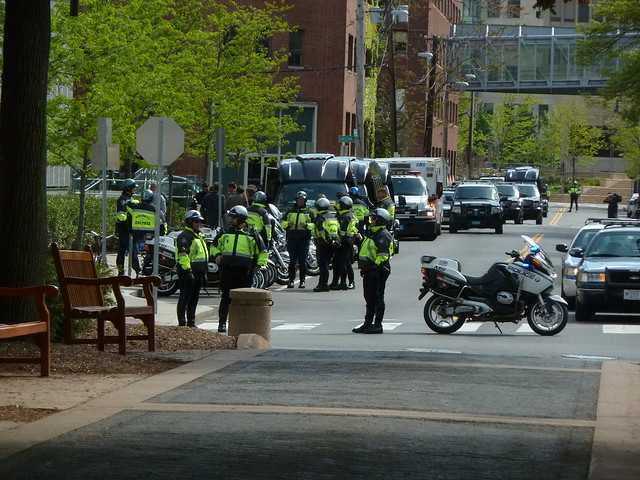Police presence for visit from David Cameron at MIT May 14 2013