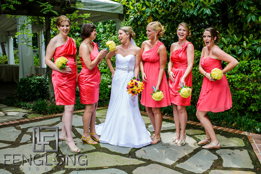 Bride and her bridesmaids at Flint Hill