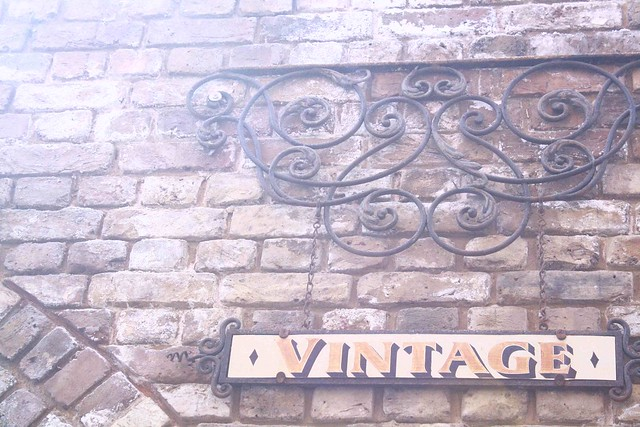 vintage signage on bricks