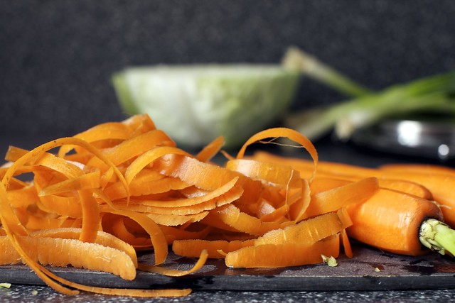 carrot peels and ribbons