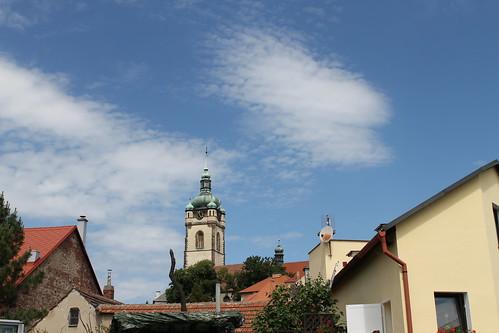 Blue sky shining on the Mělník Bell Tower.