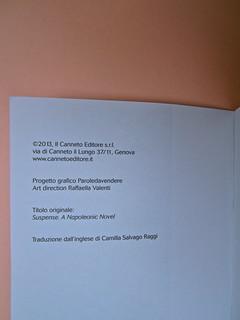 Joseph Conrad, Suspence. il canneto editore 2013. progetto grafico di Paroledavendere, Art Director: Camilla Salvago Raggi. Colophon (part.), 1