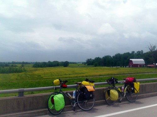 bicycles on overpass in Missouri