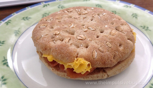 Jimmy Dean Delights Honey Wheat Flatbread Bacon, Egg & Cheese Breakfast Sandwich Closeup