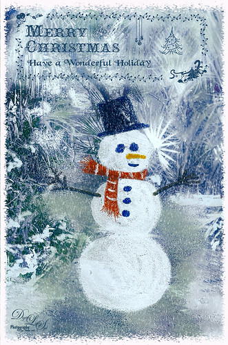 Image of snowman and card scene created in both Photoshop and Corel Painter