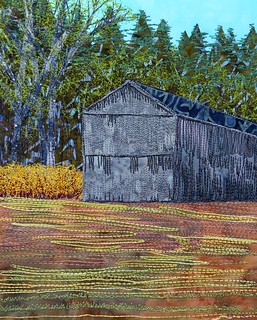 barn and forsythia