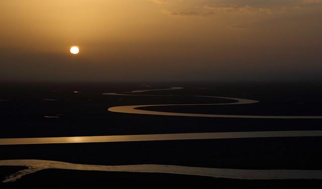 4891 The Kaidu River at sunset--Uyghur Autonomous Region ( Xinjiang ) , China