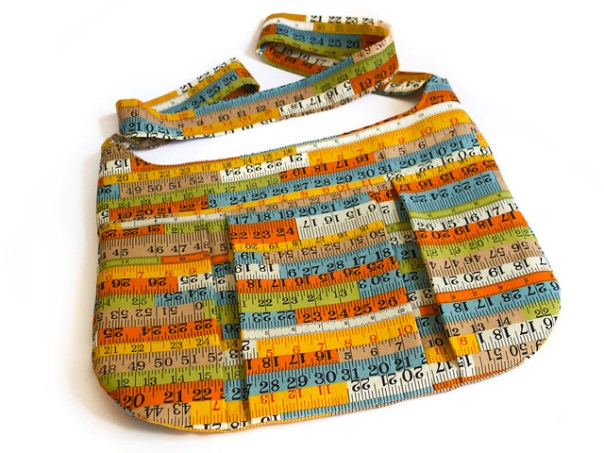 Bag made from tape measure fabric. Pattern is Retro Bag from 101 Ways To Sew A Metre