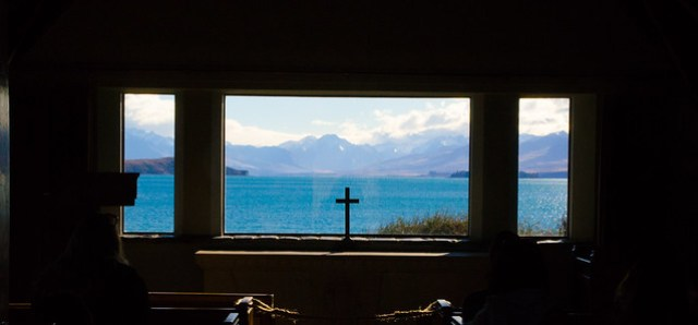 view from Church of the Good Shepherd, Lake Tekapo