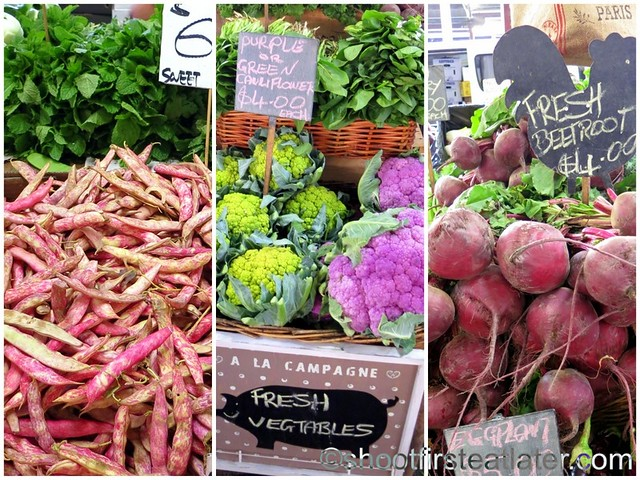 Queen Victoria Market- green & purple cauliflower, beetroot
