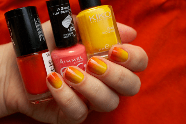 01 gradient nails kiko 279 yellow + rimmel instyle coral + colorama 155