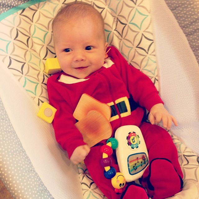 So happy that big sister is sharing her toys! #santababy #merrychristmas