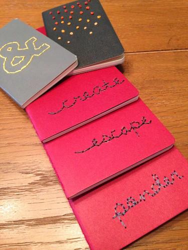 embroidered moleskin journals