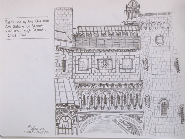 Sketch of Olde Yale Art Gallery bridge, Yale