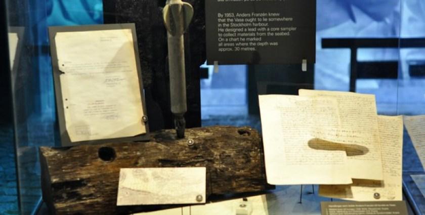 Cincel utilizado durante años por Anders Franzén para localizar el Vasa en algún lugar del puerto de Estocolmo, donde la profundidad es de unos 30 metros. buque de guerra Vasa, viaje a Estocolmo 1628 - 14060545291 b535298a66 z - buque de guerra Vasa, viaje a Estocolmo 1628