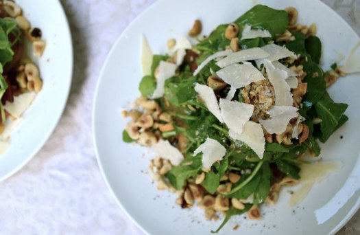 Arugula Beet Salad with Toasted Hazelnuts